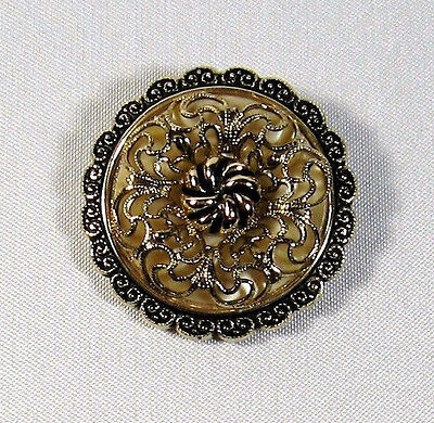 Fancy Vintage Gold Tone Filigree Mother of Pearl Scroll Scarf Clip 1-1/2""