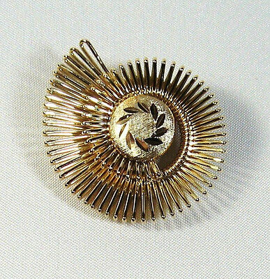 "Beautiful Vintage Gold Tone Spiral Swirl Scarf Clip 1-3/4"" West Germany"
