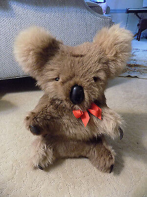 "Vtg life like & size BIG 14"" Real Fur Koala Plush Stuffed Teddy Bear Australia"