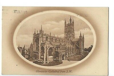 Vintage Sepia Postcard of Gloucester Catedral - Posted Gloucester 4th July 1912