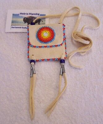Hand Made Small Beaded Neck Pouch Rendezvous Black Powder Mountain Man 18