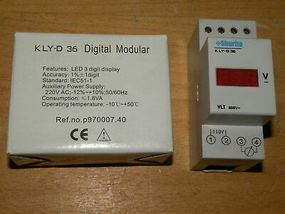 Prime Technology Shurite 600VAC LED Display DIN Rail Mount KLY D36 600V-AC-III-R