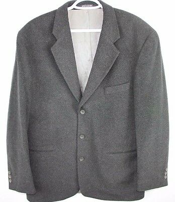 Pierre Cardin 3 Button Black Blazer Wool Cashmere Blend 42T