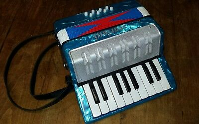 Scarlatti Child's accordian Good working order. blue mother of pearl effect.