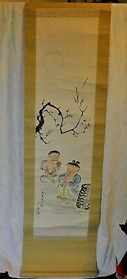 Large Japanese Scroll Hand Painting Landscape Children at Play YI LANG Artist