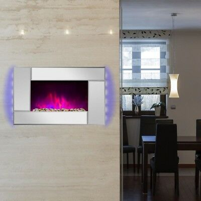Wall Mount Electric Fireplace Heater Mirror Tempered Glass Pebbles Logs Remote