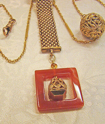 Handsome! gold filled Victorian Ornate Carnelian & wax stamp watch Fob plus !!
