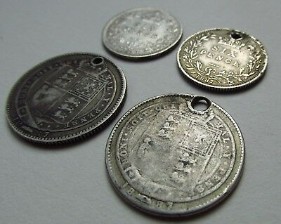 4 x VICTORIA JUBILEE HEAD SILVER SHILLINGS & SIXPENCES
