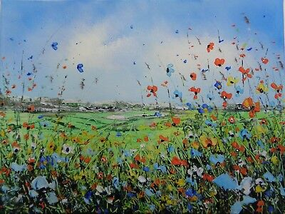 """Original Textured Acrylic Oil  Painting On  Canvas """" Wildflowers"""""""