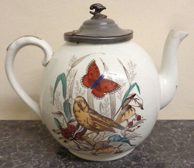 Rare Antique Victorian Teapot With Butterfly Bird Transfer Prints & Pewter Lid