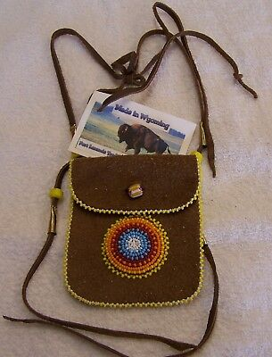 Hand Made Small Beaded Neck Pouch Rendezvous Black Powder Mountain Man 20