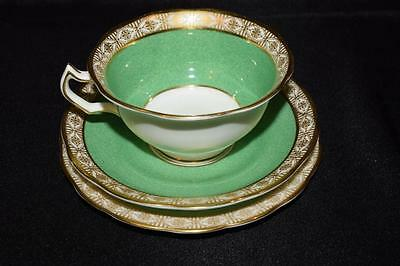 Antique Cup & Saucer Trio~George Jones~English China~Gold Gilt~Green~c1890s~1920