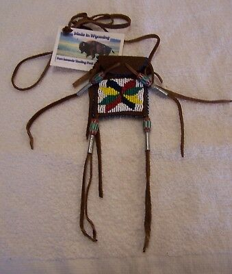 Hand Made Small Beaded Neck Pouch Rendezvous Black Powder Mountain Man 23