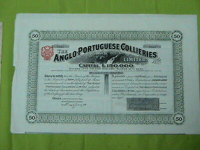 The Anglo-Portuguese Collieries - fifty share certified 1908