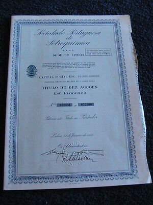 Portuguese Society of Petrochemical ten share certified 1959