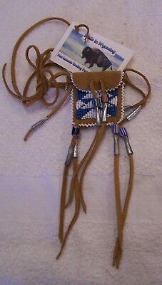 Hand Made Small Beaded Neck Pouch Rendezvous Black Powder Mountain Man 24
