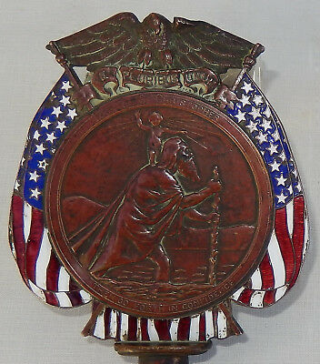 Antique GORHAM Co. Copper/Enamel Flag Topper W/St. Christopher U.S. Flag, Eagle