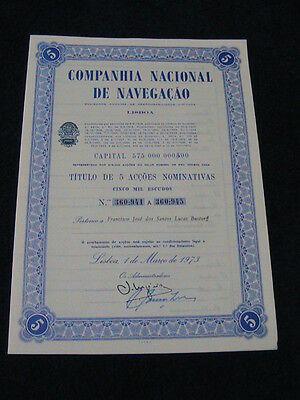 national company the navigation - five share certified 1973