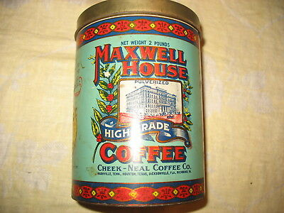 "Vintage 1979 Maxwell House 2Lb Tin Can 7.5"" Tall - Free Shipping - J.chein Co."