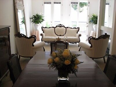 Antique Living Room-- French Louis Xv Style: Sofa With 2 Chairs 1910-1950