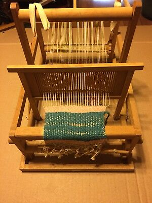 Vintage Wooden Weaving Loom Tabletop Model.