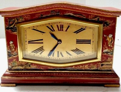 Antique Rare French Red Chinoiserie Clock