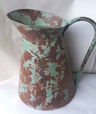 Distressed Rustic Turquoise Green Chipped Paint Watering Can Farmhouse Country
