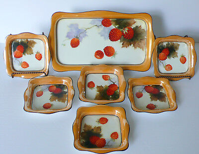 Art Deco Noritake Nippon Porcelain Strawberry Lustre Ice Cream Cake Tray 6 Bowls