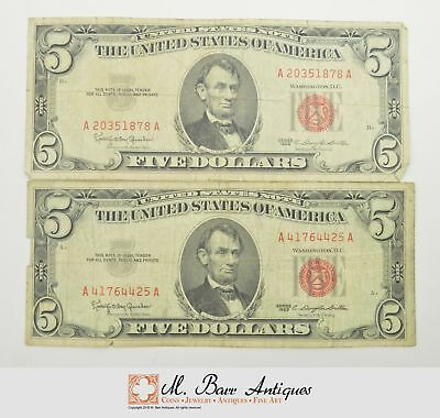Lot of (2) $5.00 Red Seal US Notes Currency Collection 1963 *866