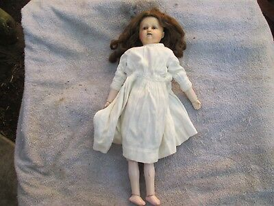 """Antique Wax Doll Wax over Composition Trufling 22"""" Long Mechanical"""