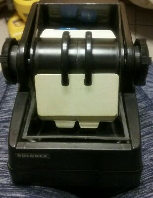 Vtg Rolodex Black plastic  Rotary Addess File with cards