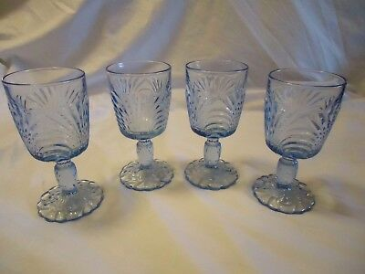 "CAMBRIDGE CAPRICE MOONLIGHT BLUE 6 5/8"" DINNER WATER GOBLETS SET OF 4,-10 oz"