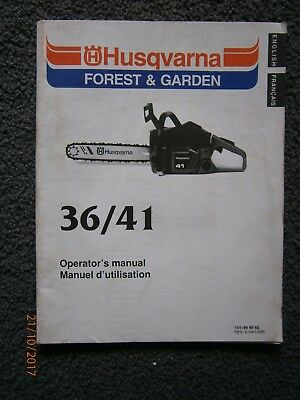 Husqvarna 36/41 Chainsaw Instruction Manual