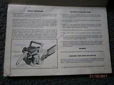 Pioneer 11-10 Chainsaw Instruction Manual
