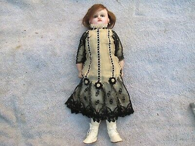 """Antique Wax Doll Wax over Composition 16"""" Tall"""