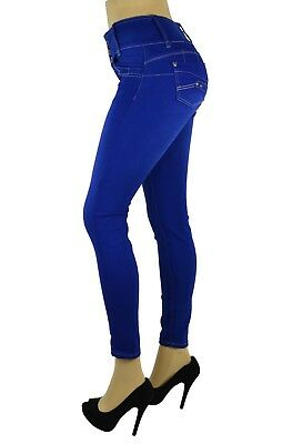 High Waist Stretch Push-Up Colombian Style Skinny Jeans in  BLUE AT-285