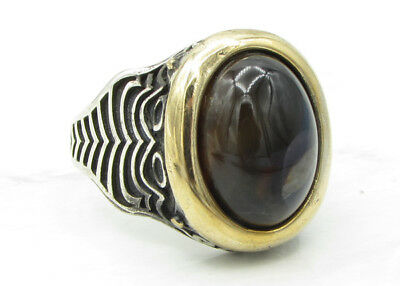 925 Sterling Silver - Vintage Antique Finish Gemstone Men's Ring  16g - Sz 11