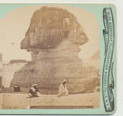 Close-Up Sphinx & Egyptians Giza Egypt Charles Bierstadt Stereoview 1874