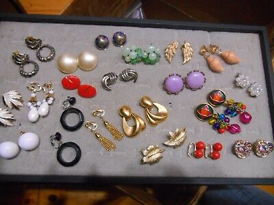 Vintage Lot Of 20 Pairs Of Clip Earrings,dalsheim,emmons,bergere,avon