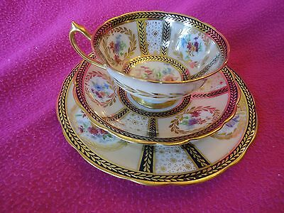 Paragon Trio Teacup & Saucer Set Reproduction of Service For Queen Mary Signed 2
