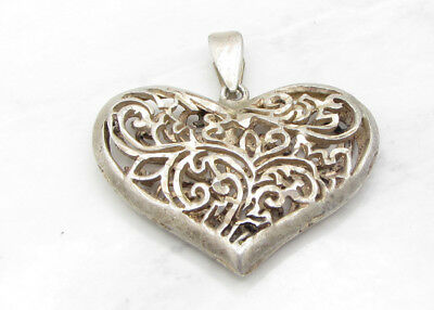 925 Sterling Silver - Vintage Antique Finish Caged Love Heart Pendant 6g