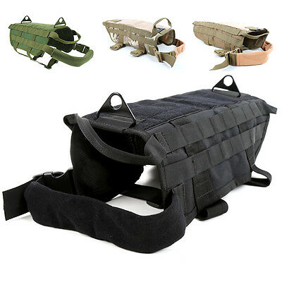 New Tactical Dog Army Harness Vest Clothes Molle Vests Packs Coat Nylon XS-XL