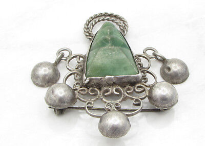 925 Sterling Silver - MEXICO Vintage Antique Finish Malachite Brooch Pin 10g