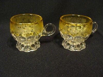 EAPG  U.S. Glass Co's 2 Amber Stained Hexagon Block Cups