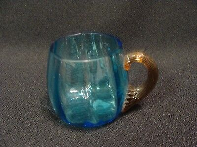 EAPG  Hobbs Brockunier Glass Co's Blue With Amber Shell Handle Cup
