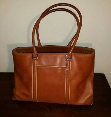 COACH Hamptons Leather Business XL Carryall 7515 British Tan Briefcase Work Tote