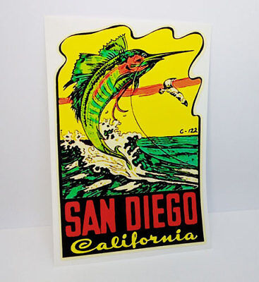 San Diego California Fishing Vintage Style Travel Decal / Vinyl Sticker