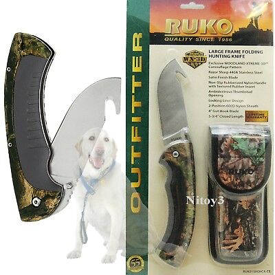Ruko Stainless Steel Folding Knife W/Gut Hook And WX-3D Camo Handle