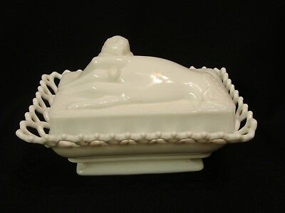 EAPG  Atterbury Glass Co's Opaque White Hand & Dove Covered Dish