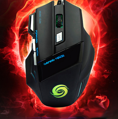 5500 DPI Gaming Mouse 7 Buttons LED Optical USB